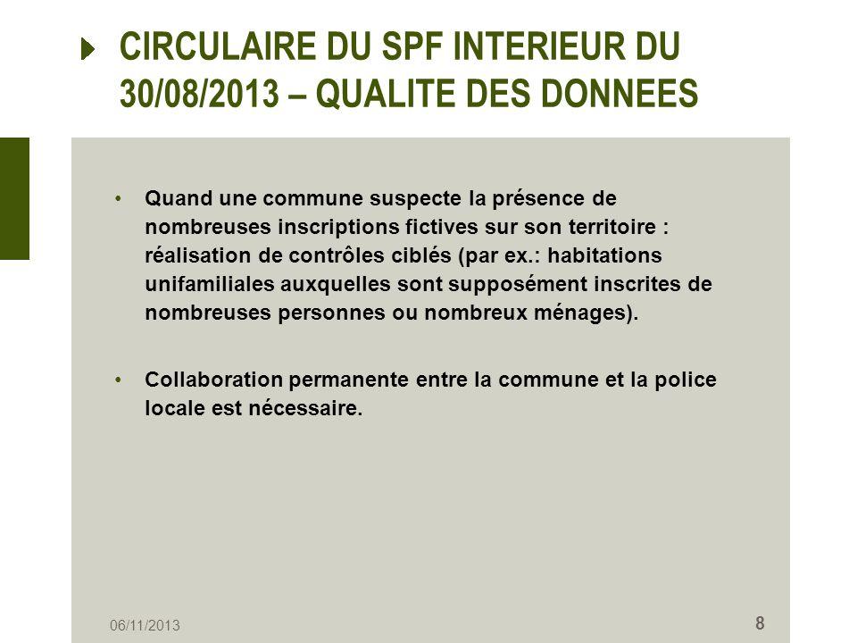 CIRCULAIRE DU SPF INTERIEUR DU 30/08/2013 – QUALITE DES DONNEES