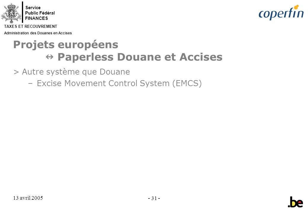 Projets européens  Paperless Douane et Accises
