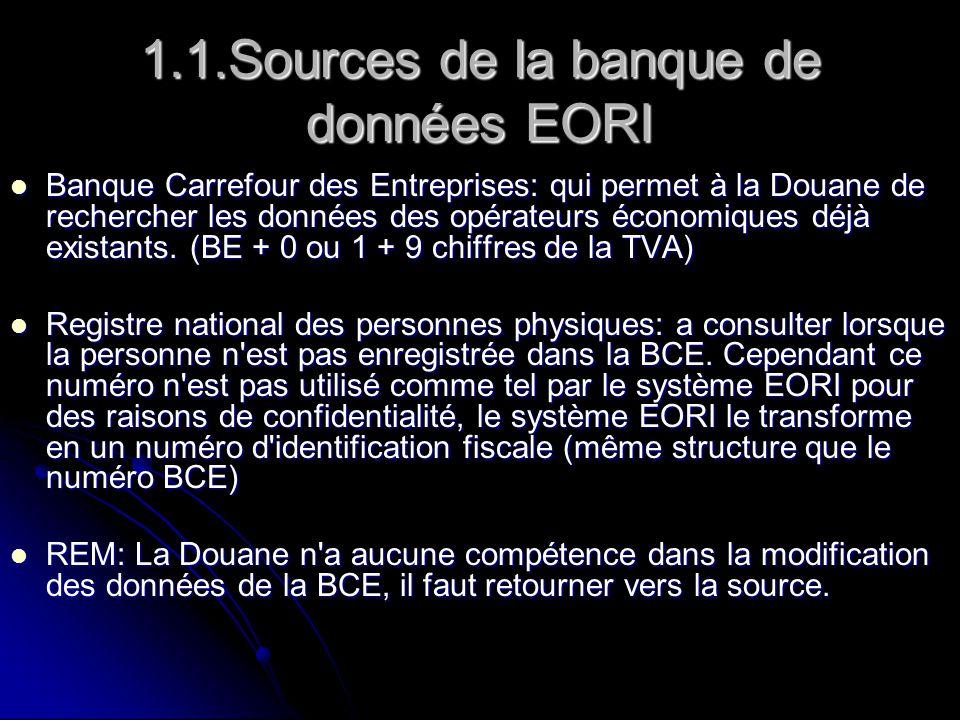 1.1.Sources de la banque de données EORI