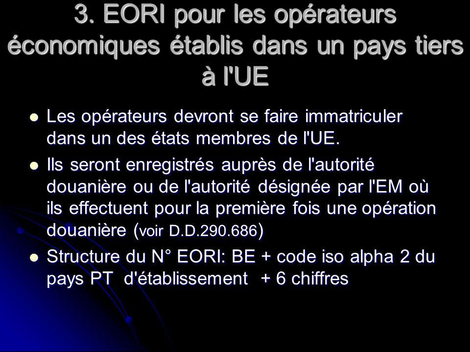 3. EORI pour les opérateurs économiques établis dans un pays tiers à l UE