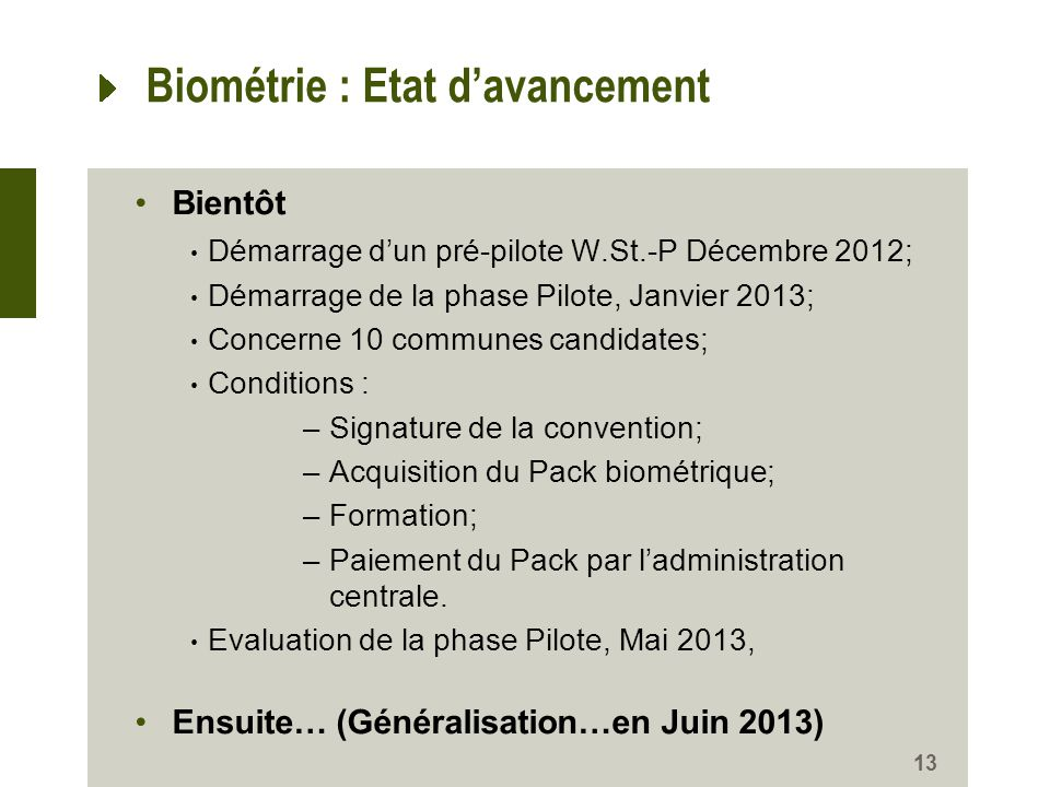Biométrie : Etat d'avancement