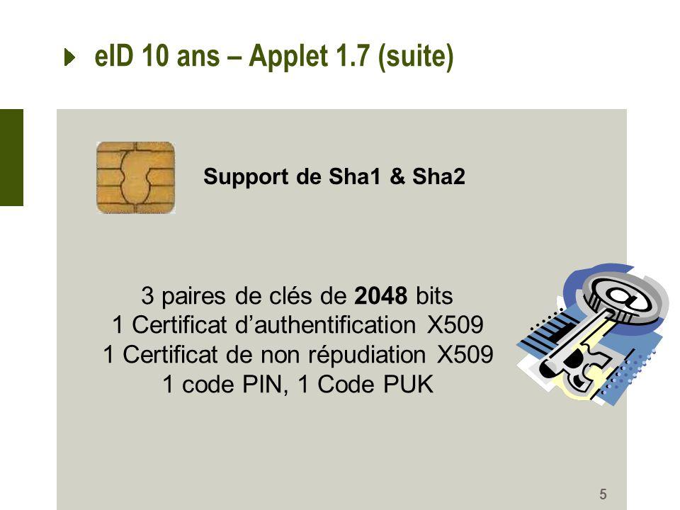 eID 10 ans – Applet 1.7 (suite)
