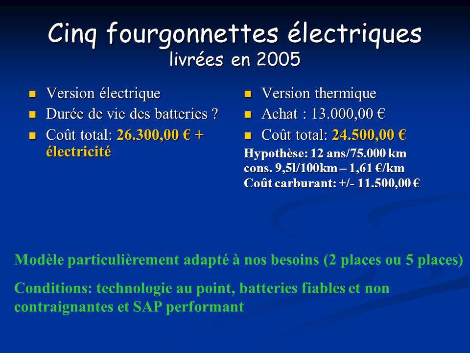 Cinq fourgonnettes électriques livrées en 2005
