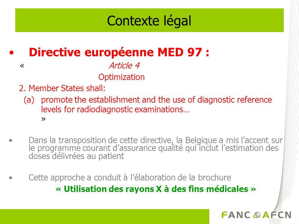 Contexte légal Directive européenne MED 97 : Optimization
