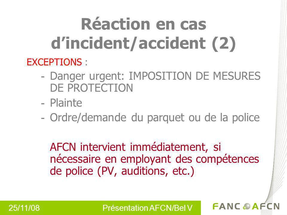 Réaction en cas d'incident/accident (2)