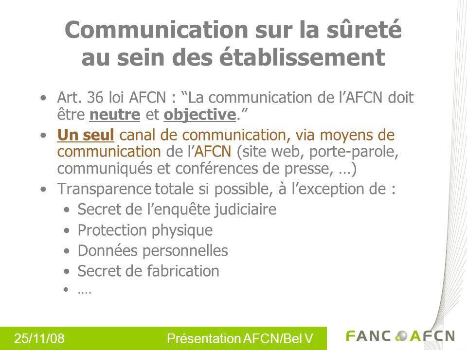 Communication sur la sûreté au sein des établissement