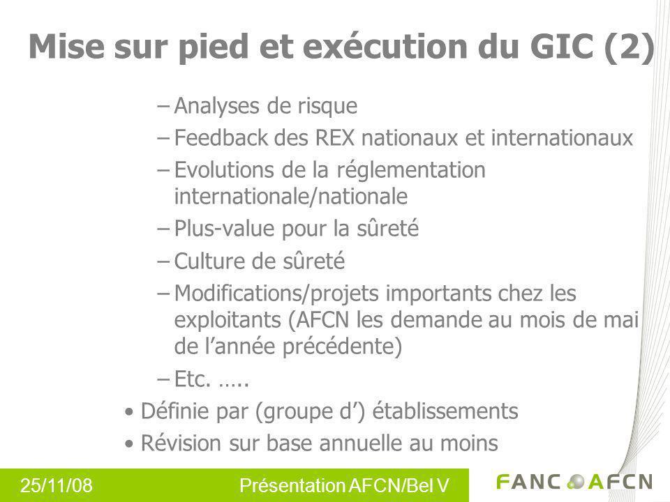 Mise sur pied et exécution du GIC (2)