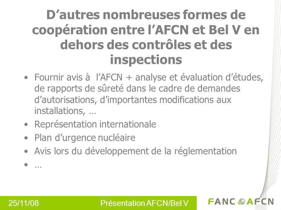 D'autres nombreuses formes de coopération entre l'AFCN et Bel V en dehors des contrôles et des inspections