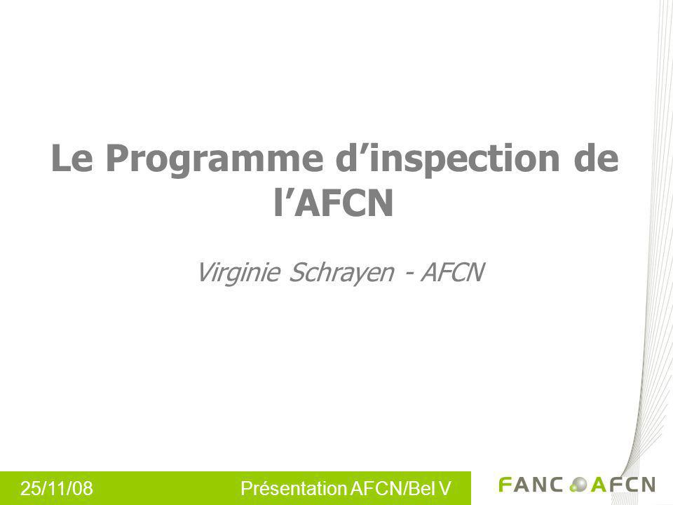 Le Programme d'inspection de l'AFCN Virginie Schrayen - AFCN