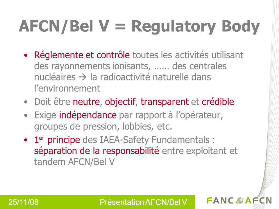 AFCN/Bel V = Regulatory Body