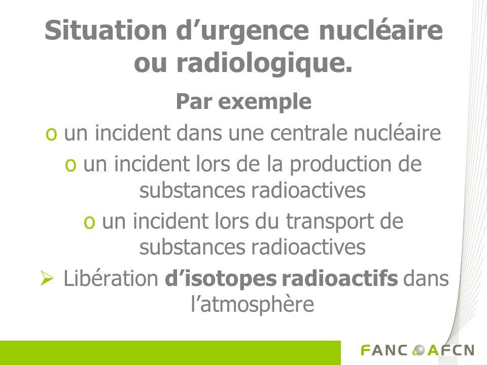 Situation d'urgence nucléaire ou radiologique.