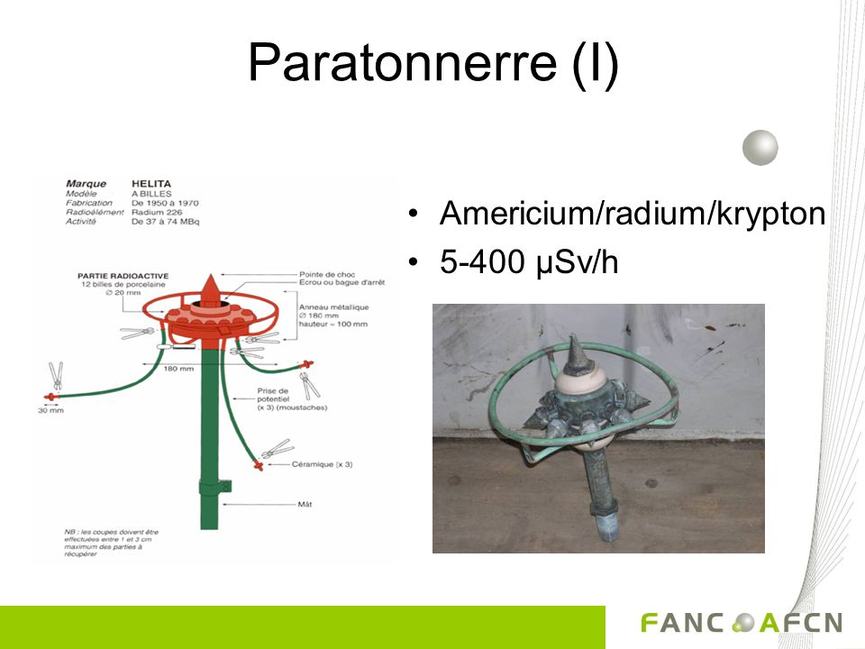Paratonnerre (I) Americium/radium/krypton 5-400 µSv/h