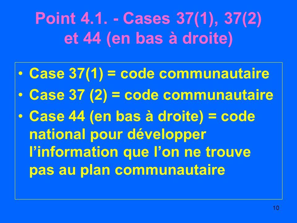 Point 4.1. - Cases 37(1), 37(2) et 44 (en bas à droite)