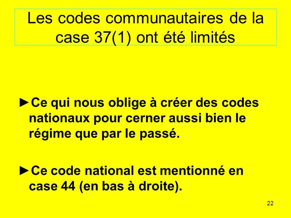 Les codes communautaires de la case 37(1) ont été limités