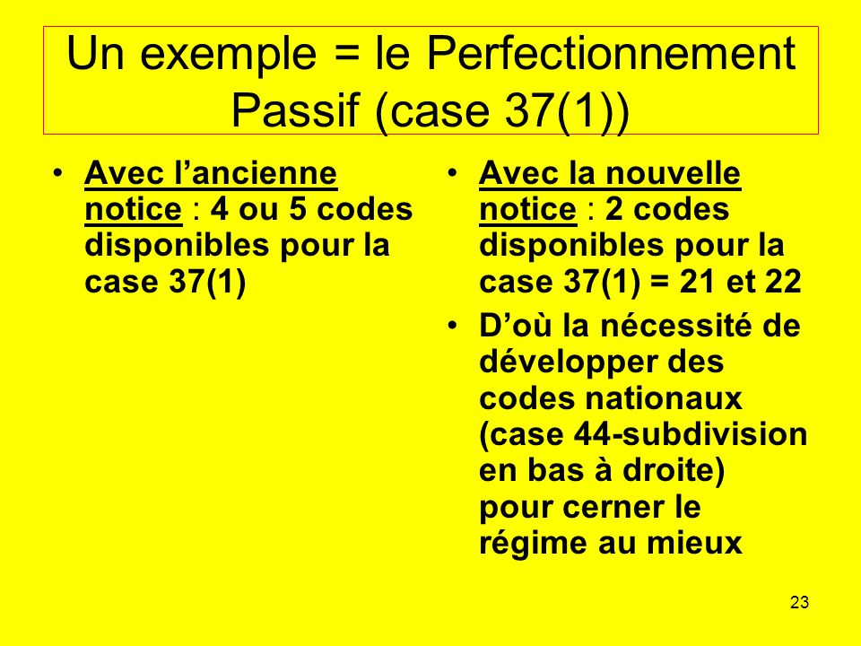 Un exemple = le Perfectionnement Passif (case 37(1))