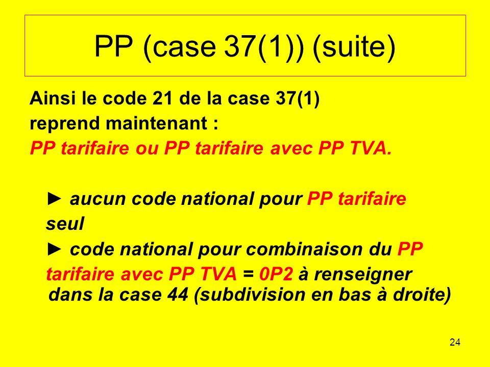 PP (case 37(1)) (suite) Ainsi le code 21 de la case 37(1)