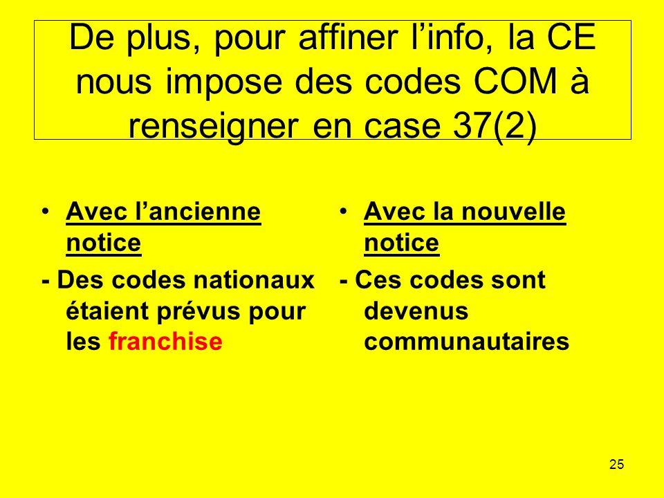De plus, pour affiner l'info, la CE nous impose des codes COM à renseigner en case 37(2)