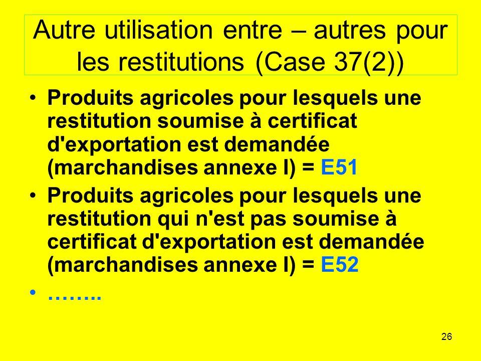 Autre utilisation entre – autres pour les restitutions (Case 37(2))