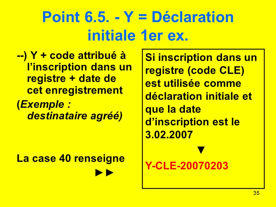 Point 6.5. - Y = Déclaration initiale 1er ex.