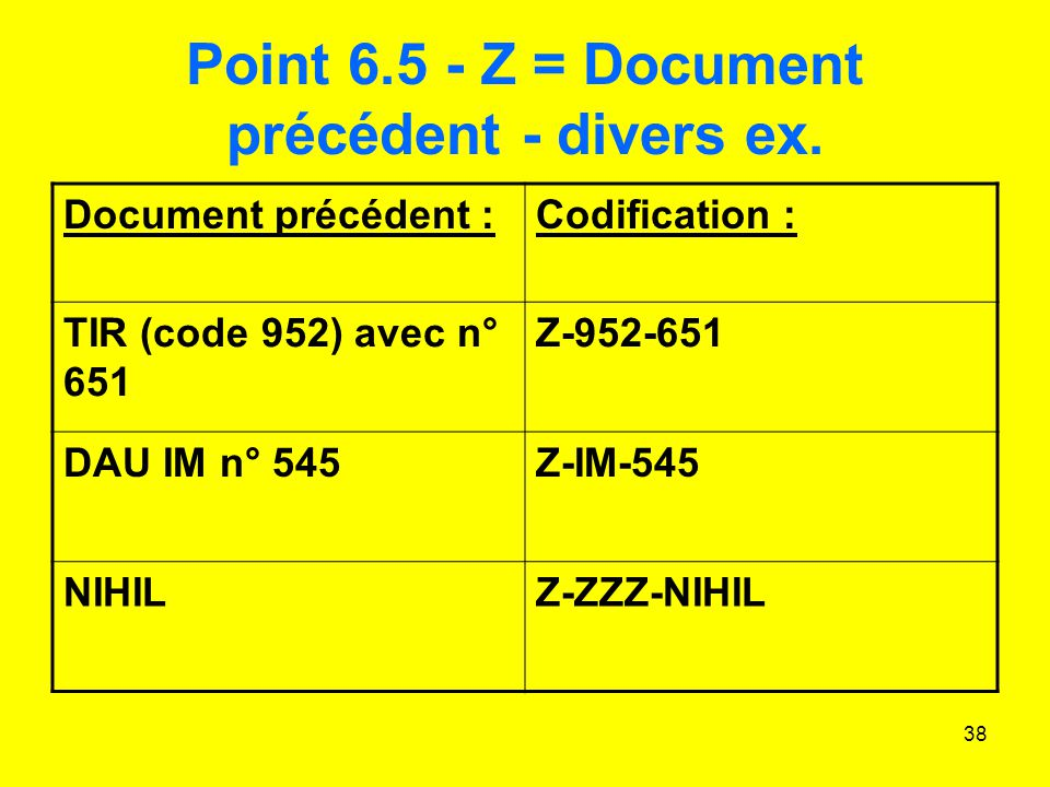 Point 6.5 - Z = Document précédent - divers ex.