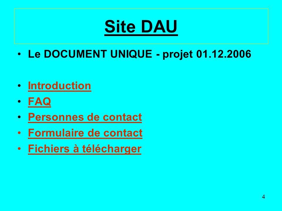 Site DAU Le DOCUMENT UNIQUE - projet 01.12.2006 Introduction FAQ