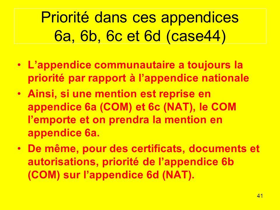 Priorité dans ces appendices 6a, 6b, 6c et 6d (case44)