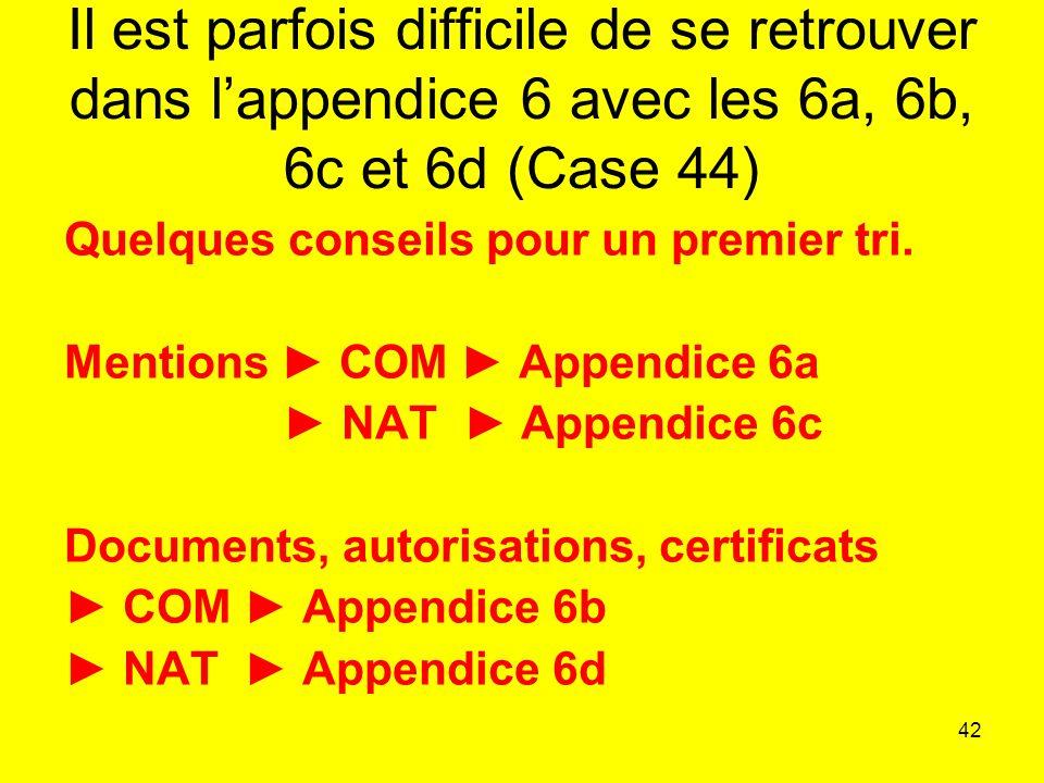 Il est parfois difficile de se retrouver dans l'appendice 6 avec les 6a, 6b, 6c et 6d (Case 44)