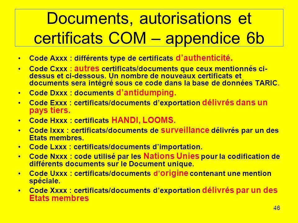 Documents, autorisations et certificats COM – appendice 6b