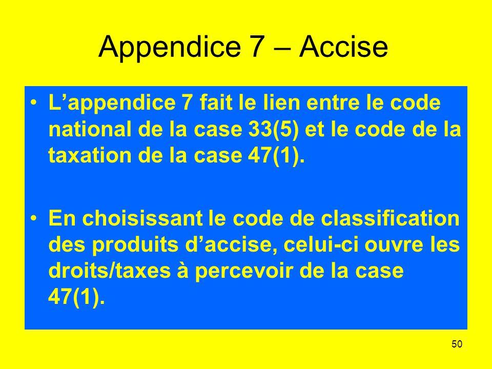 Appendice 7 – Accise L'appendice 7 fait le lien entre le code national de la case 33(5) et le code de la taxation de la case 47(1).