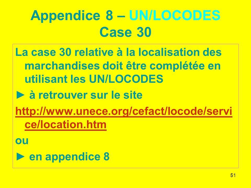 Appendice 8 – UN/LOCODES Case 30