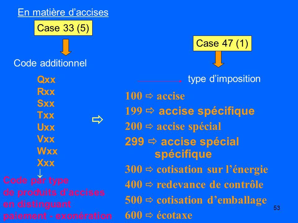  100  accise 199  accise spécifique 200  accise spécial