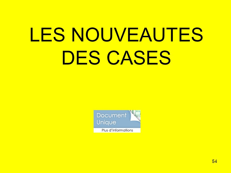 LES NOUVEAUTES DES CASES
