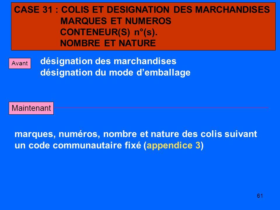 CASE 31 : COLIS ET DESIGNATION DES MARCHANDISES MARQUES ET NUMEROS
