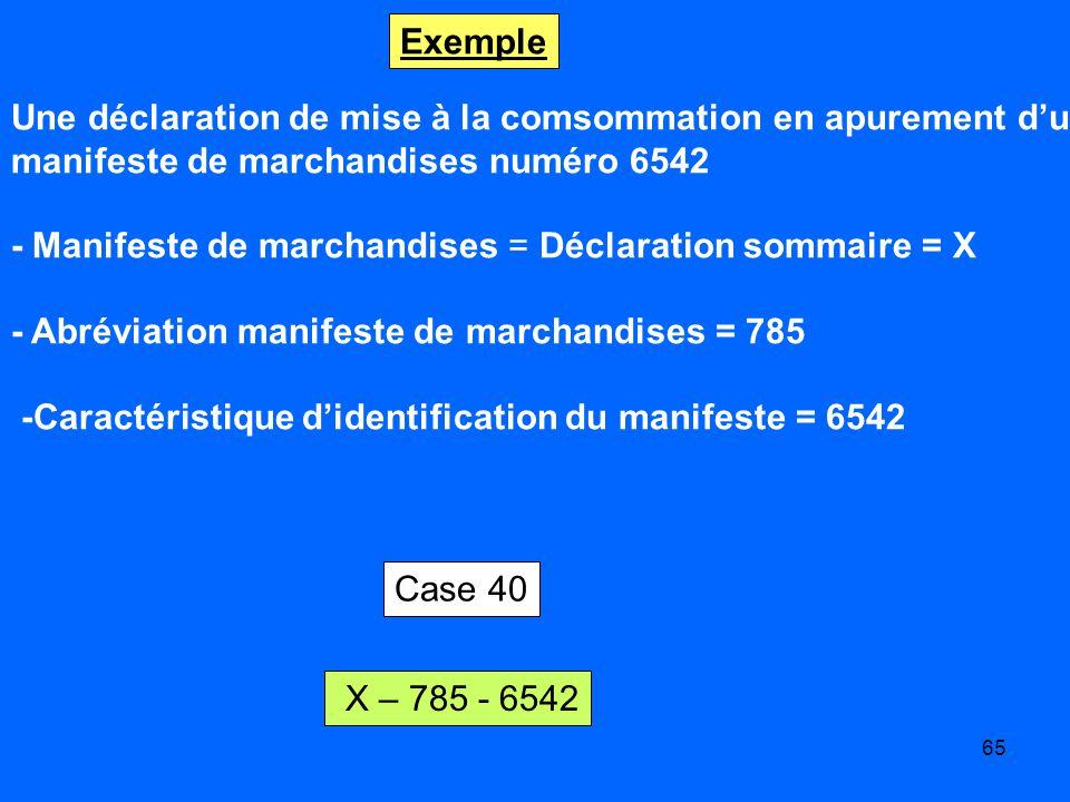 Exemple Une déclaration de mise à la comsommation en apurement d'un. manifeste de marchandises numéro 6542.