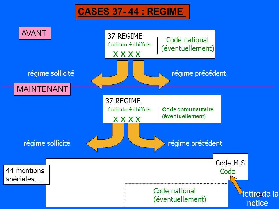 CASES 37- 44 : REGIME x x x x x x x x AVANT MAINTENANT lettre de la