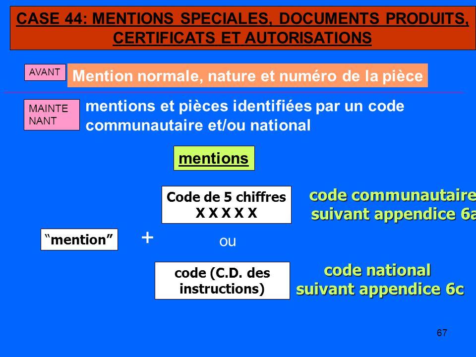 + CASE 44: MENTIONS SPECIALES, DOCUMENTS PRODUITS,