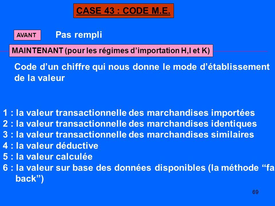 Code d'un chiffre qui nous donne le mode d'établissement de la valeur