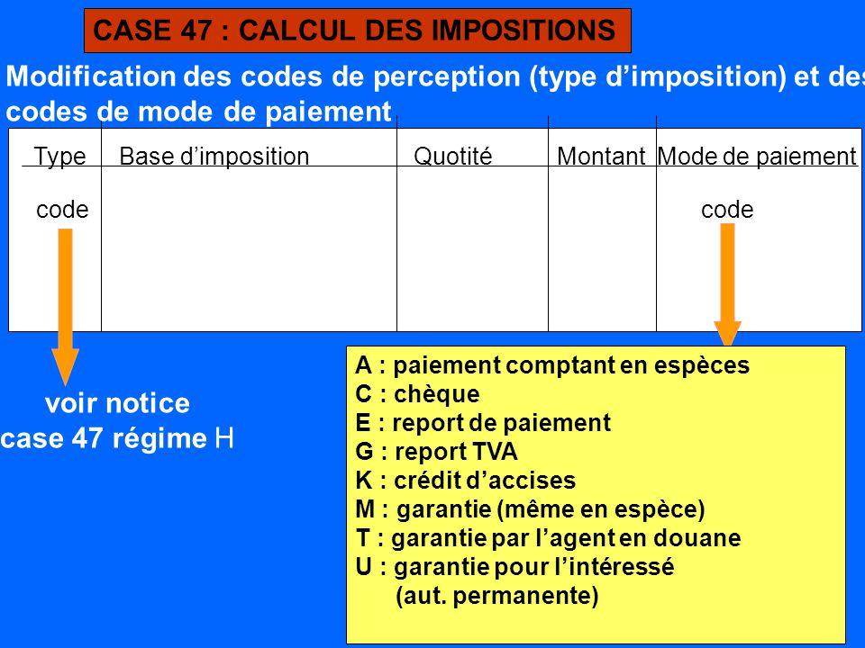 CASE 47 : CALCUL DES IMPOSITIONS