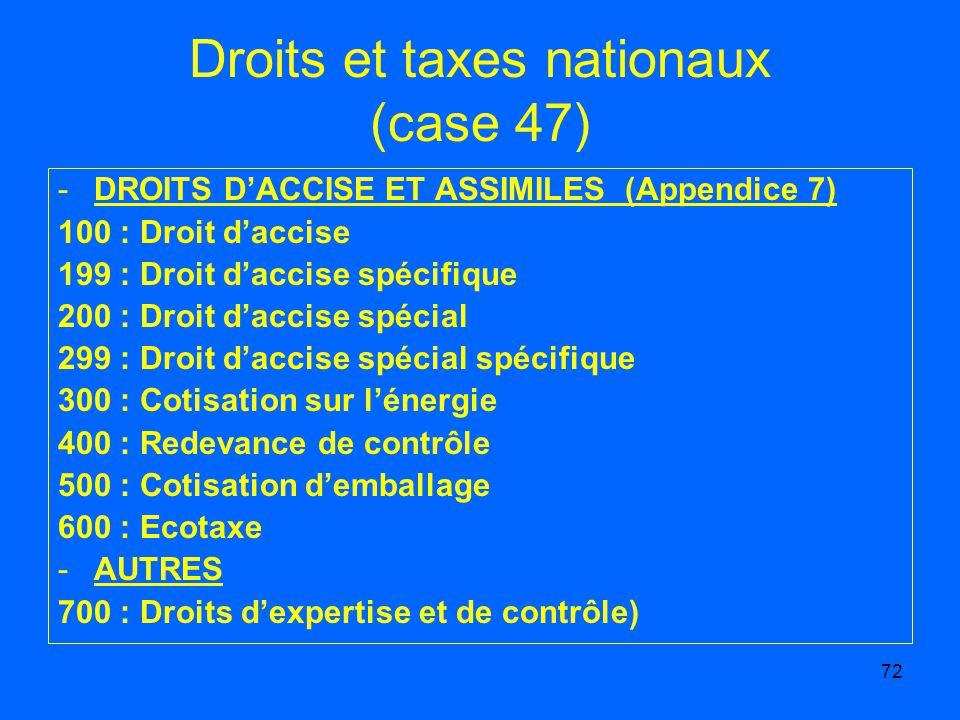 Droits et taxes nationaux (case 47)