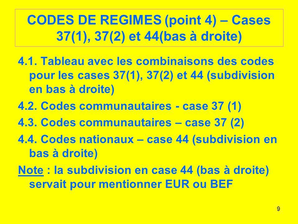 CODES DE REGIMES (point 4) – Cases 37(1), 37(2) et 44(bas à droite)