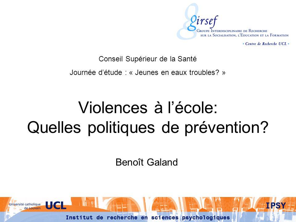 Violences à l'école: Quelles politiques de prévention