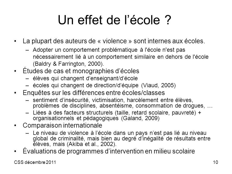 Un effet de l'école La plupart des auteurs de « violence » sont internes aux écoles.