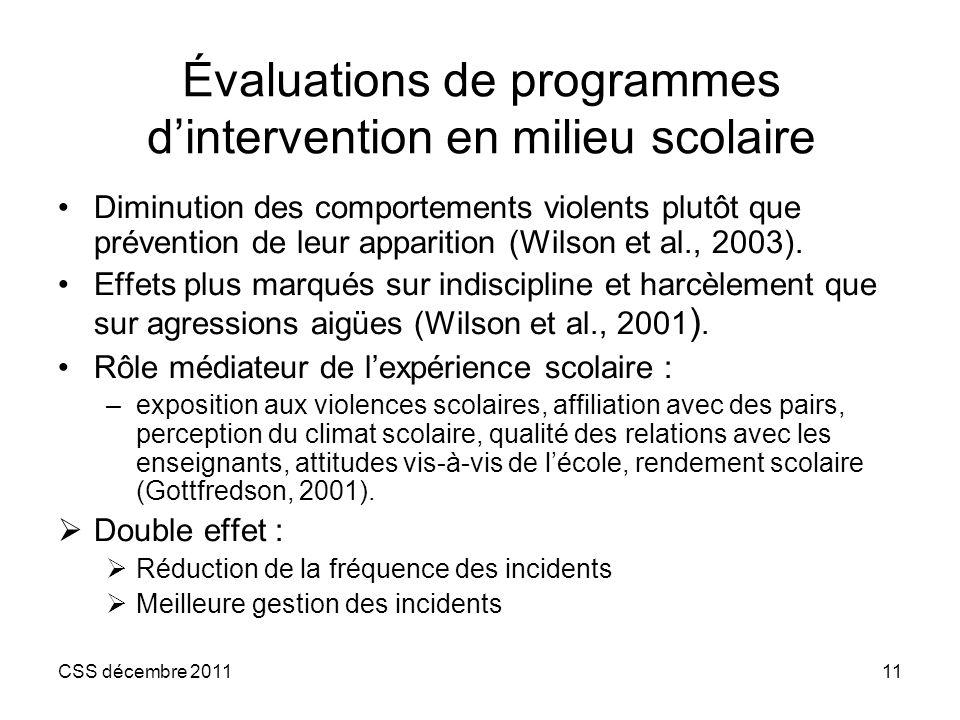 Évaluations de programmes d'intervention en milieu scolaire