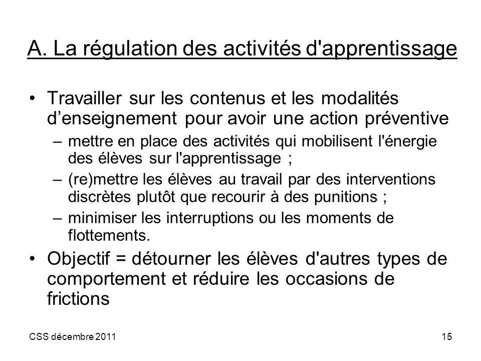 A. La régulation des activités d apprentissage