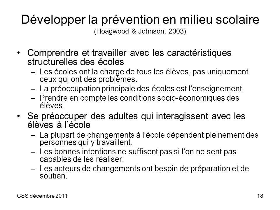 Développer la prévention en milieu scolaire (Hoagwood & Johnson, 2003)
