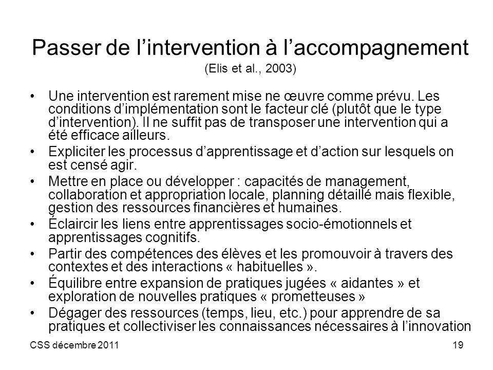 Passer de l'intervention à l'accompagnement (Elis et al., 2003)