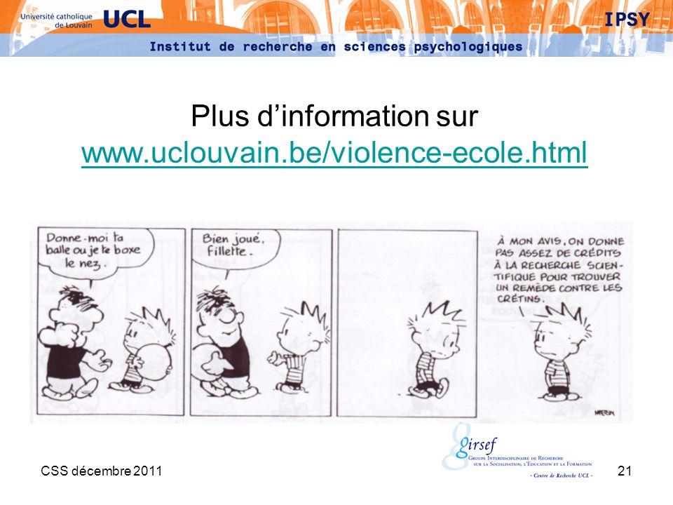 Plus d'information sur www.uclouvain.be/violence-ecole.html