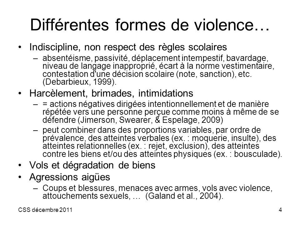 Différentes formes de violence…