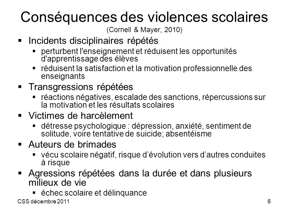 Conséquences des violences scolaires (Cornell & Mayer, 2010)