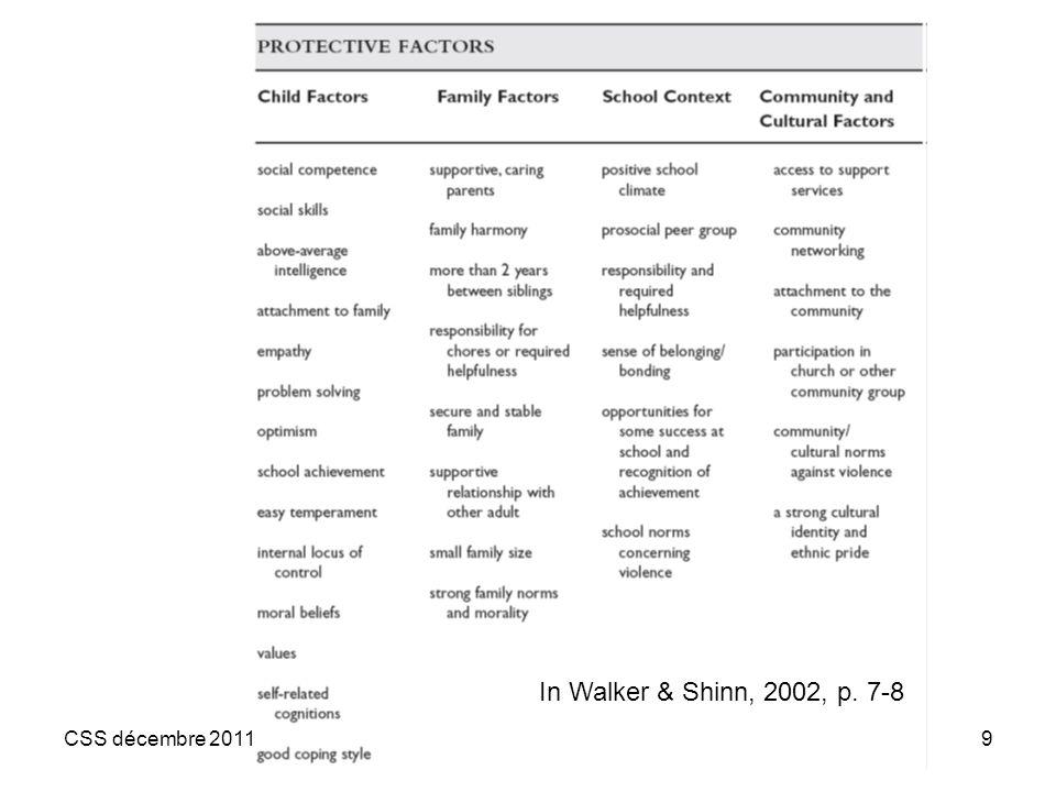 In Walker & Shinn, 2002, p. 7-8 CSS décembre 2011
